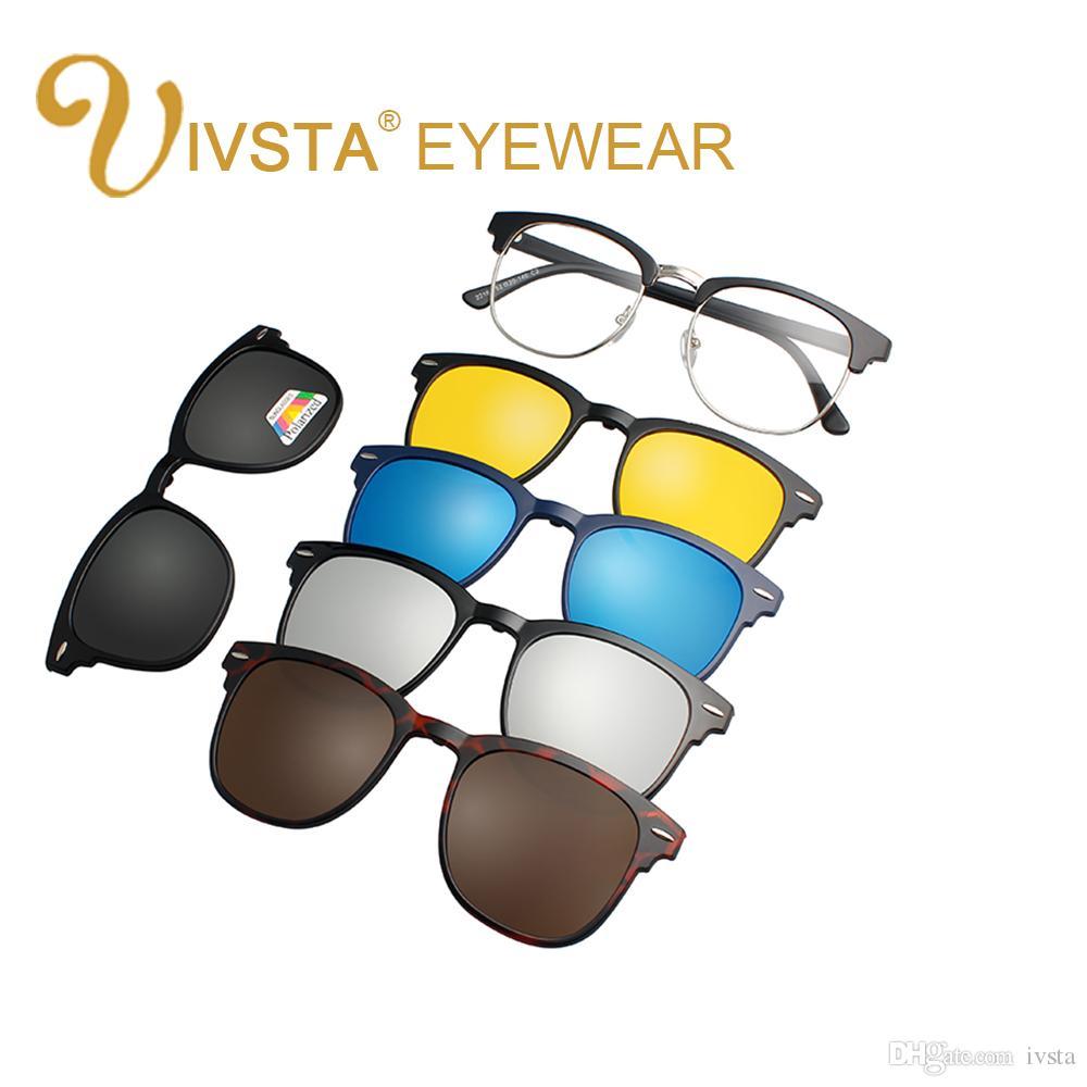 7a327fc98 Compre IVSTA 2018 Ímã Óculos De Sol Clipe Clipe Magnético Espelhado Em  Óculos De Sol Dos Homens Flip Polarized Miopia Prescrição Personalizada  Óptica 2202 ...