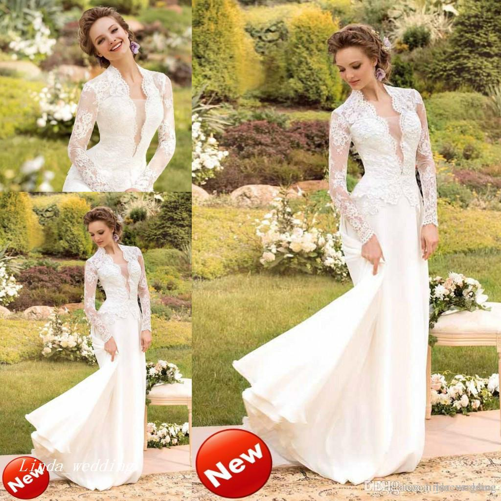 bcf98239a7 High Quality Papilio Wedding Dresses Mermaid Floor Length Long Sleeve Lace  Formal Women Bridal Party Gowns Simple Mermaid Wedding Dress Strapless Lace  ...