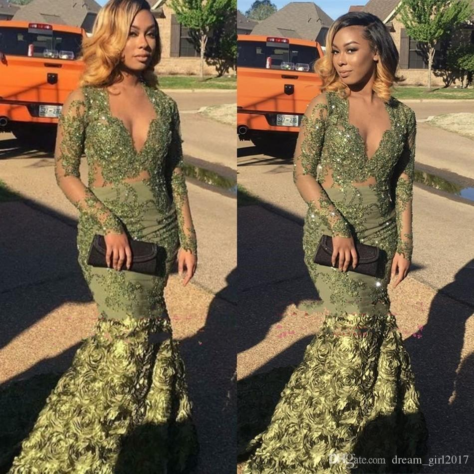 2018 Sheer Olive Prom Dresses with Long Sleeves Green Mermaid V-Neck Lace Applique Evening Dress 3D Flowers Floral Rose Skirts