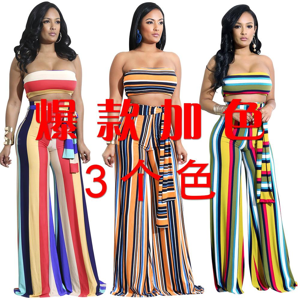 5366dfc44a20 2019 Women Set Top And Pants 2018 Striped Jumpsuit Long Pants Female Two  Piece Set Sexy Strapless Bandage Wide Leg Jumpsuits From Hengytrade