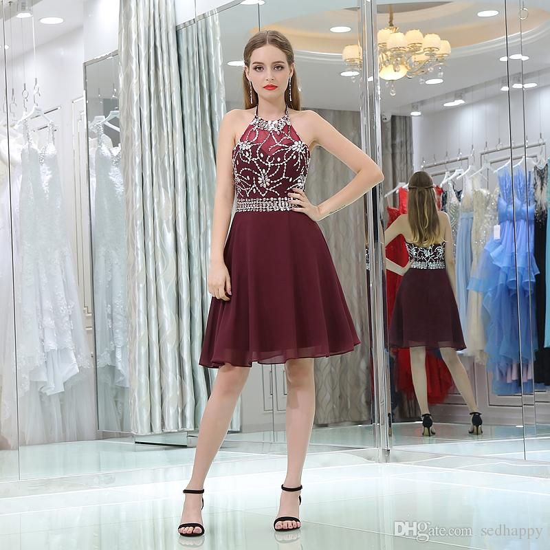 14f1063ec2a MAGGIEISAMAZING Wholesale Halter Back Zipper A Line Exposed Boning Heavy  Beaded Formal Dresses Cocktail Dresses CYH0000B021 Summer Cocktail Dress  1920s ...