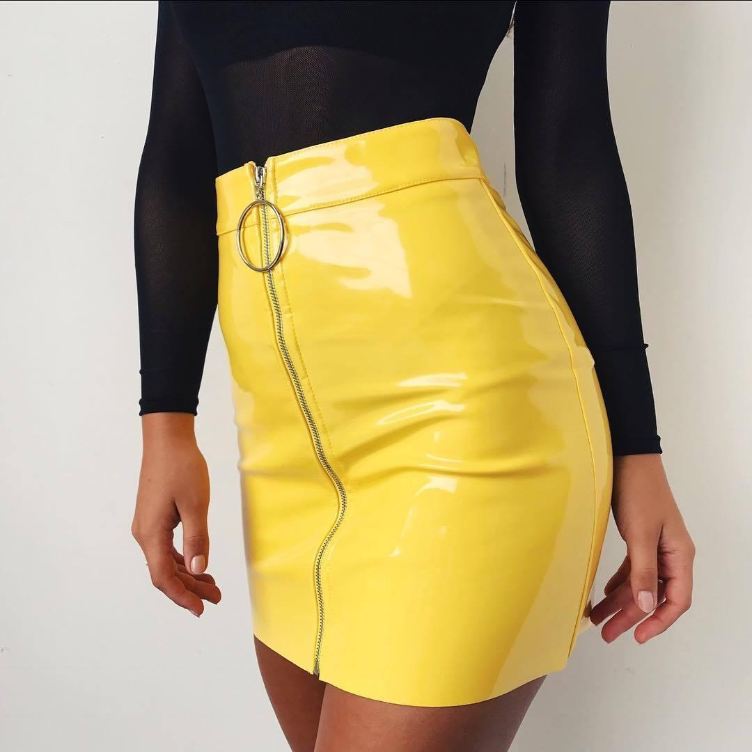 5d80d53ce01f 2018 New Fashion Skirt Women White PU Leather Pencil High Waist Mini Short  Skirt Sexy Zipper Bodycon Stretch Party Clothes