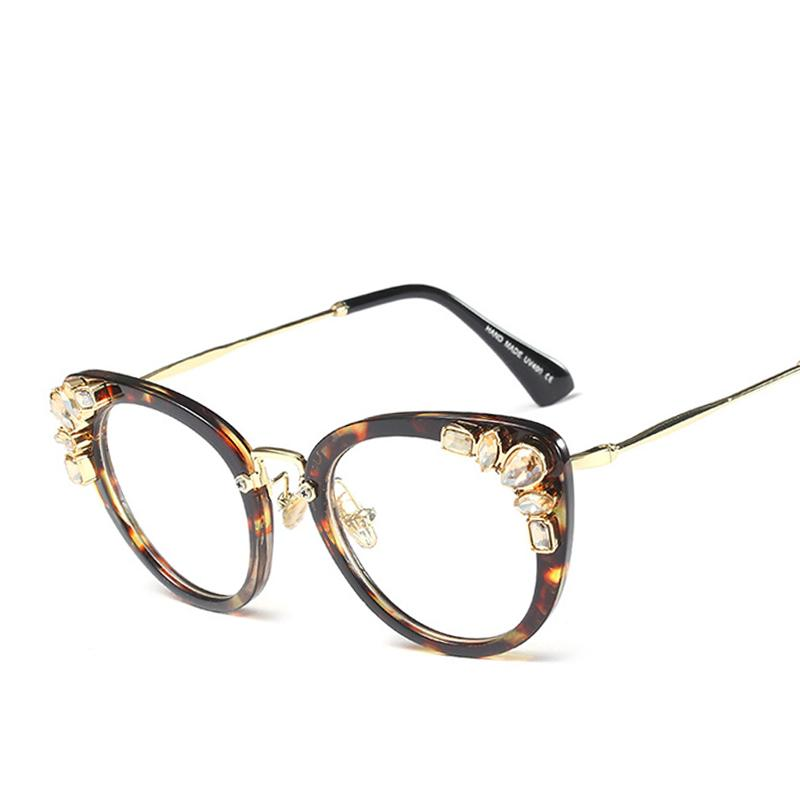 581f2508efb 2018 Large Crystal Diamond Cat Eye Glasses Frames Women Trending ...