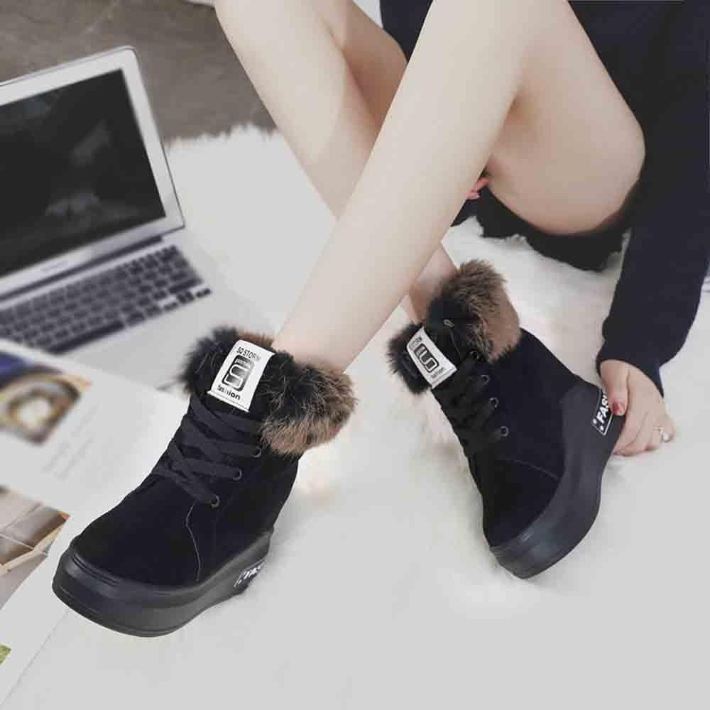 6a5672b4a18 Fashion Women Increased Snow Boots Thick Bottom Velvet Cotton Lace ...