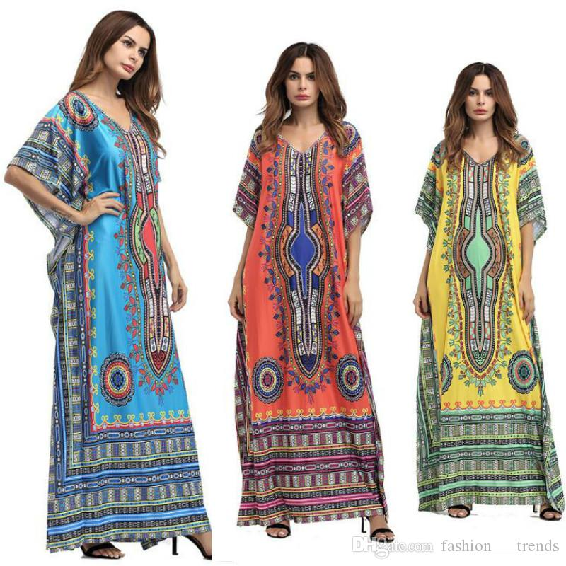Plus Size Women Summer African Ethnic Print Dress Sexy Swimwear Beach Kaftan  Maxi Dress Summer Loose Vintage Boho Beach Long Dress Oversize Womens  Formal ... ceb5b93e3