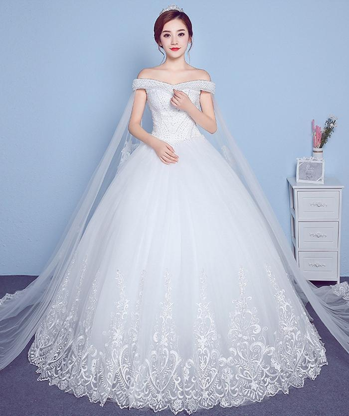 Korean Wedding Gowns: Wedding Dress 2018 New Winter One Word Shoulder Korean