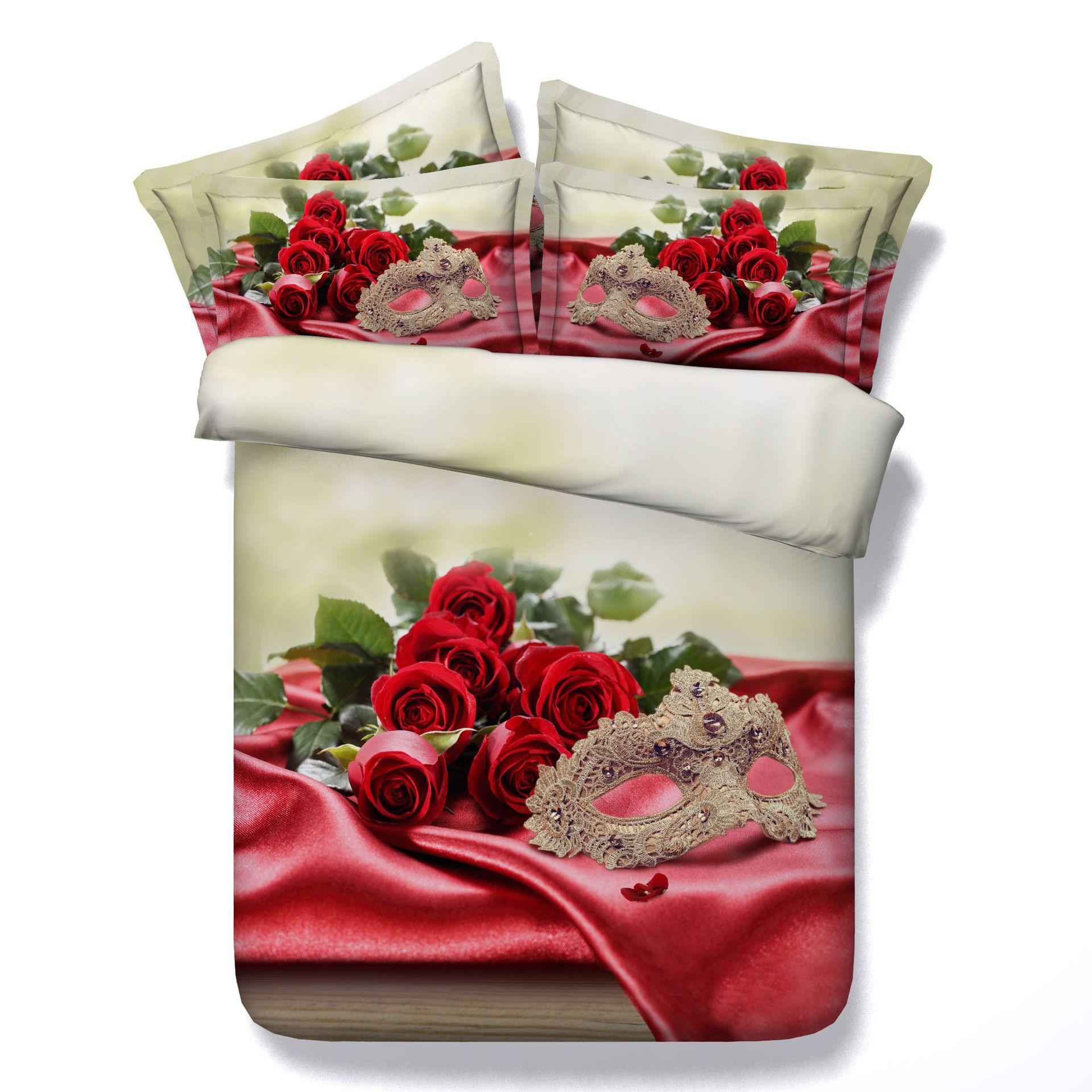 3D rouge rose housse de couette romantique literie ensembles reine floral  couvre-lits de vacances couette couvre linge de lit oreiller couvre masque