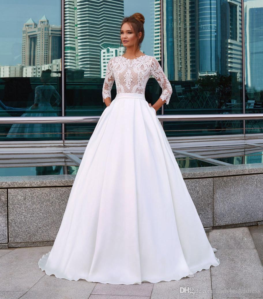 Discount Vintage 3/4 Long Sleeve Wedding Dresses 2018