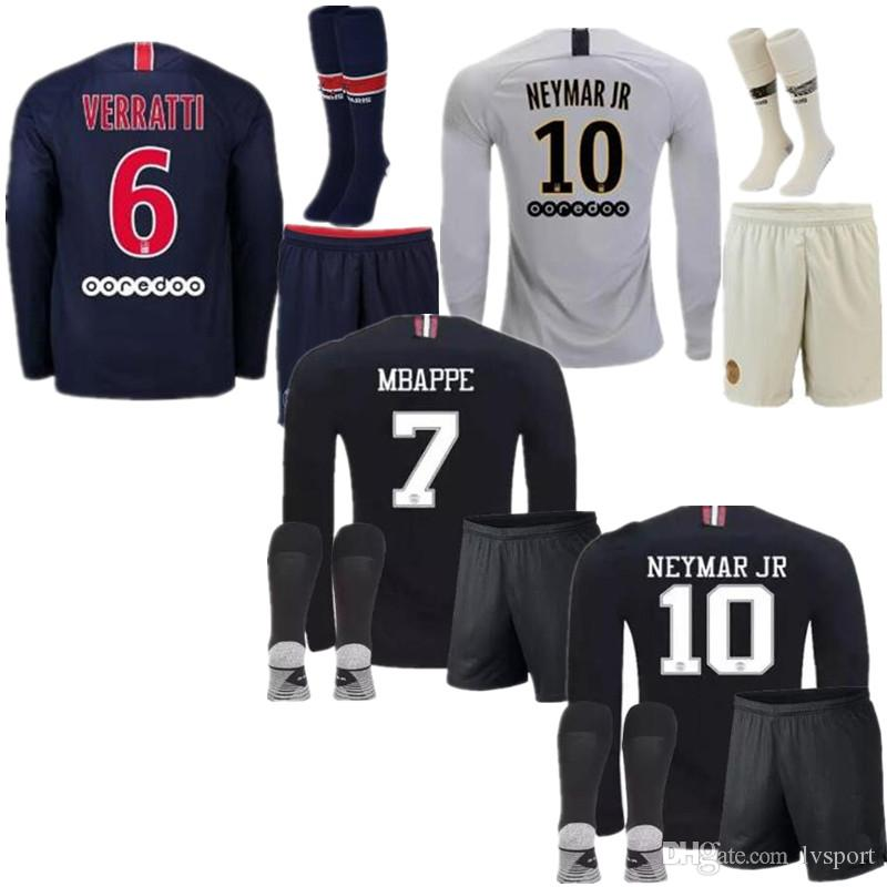 91b9fc96cd3 2019 2019 PSG Long Sleeve Kids Kit Home Jersey 18 19 Champions League  MBAPPE Black CAVANI VERRATTI TRACKSUIT MARIA Soccer Jerseys Paris Maillot  From Lvsport ...