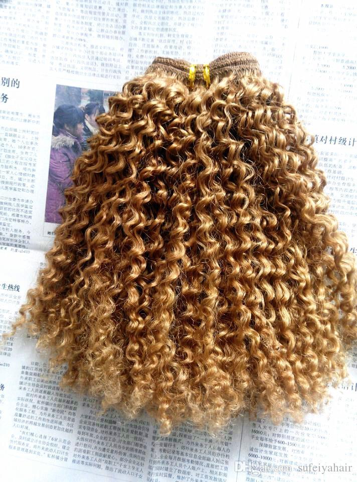 Extensiones de cabello Remy Clip Ins brasileño de la virgen humana Extensiones de cabello rizado rubio oscuro Extensiones de cabello rizado humano rizado doble dibujado Wefted grueso