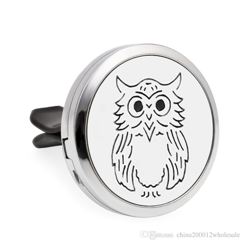 Cross and owl Aroma locket Essential Oil Car Diffuser Locket air Fresh Vent Clip Pendant Perfume locket Magnetic Randomly Pads as Gift