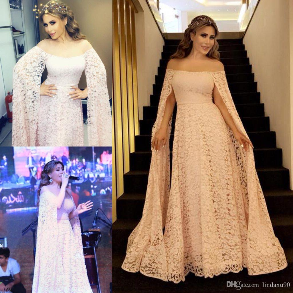 d670d536c8c Blush Pink Long Prom Dresses With Sleeves A Line Off The Shoulder Floor  Length Lace Evening Gowns Custom Made Plus Size Engagement Gowns Backless  Evening ...