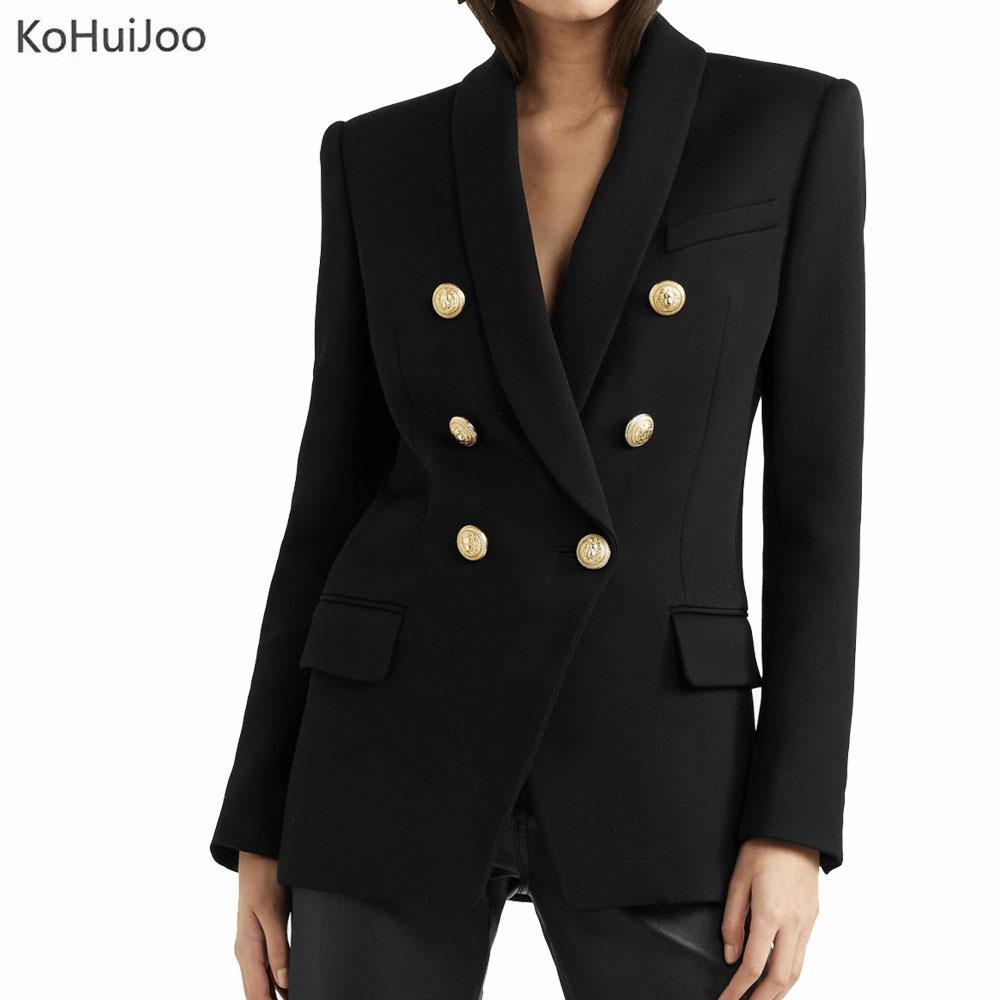 quality design 47663 39141 Acheter KohuiJoo Noir Rouge Noir Blazer Femme Casual Mode Or Bouton Long  Blazer Vestes Solide À Manches Longues Dames Costume Veste De  96.55 Du  Fabian05 ...