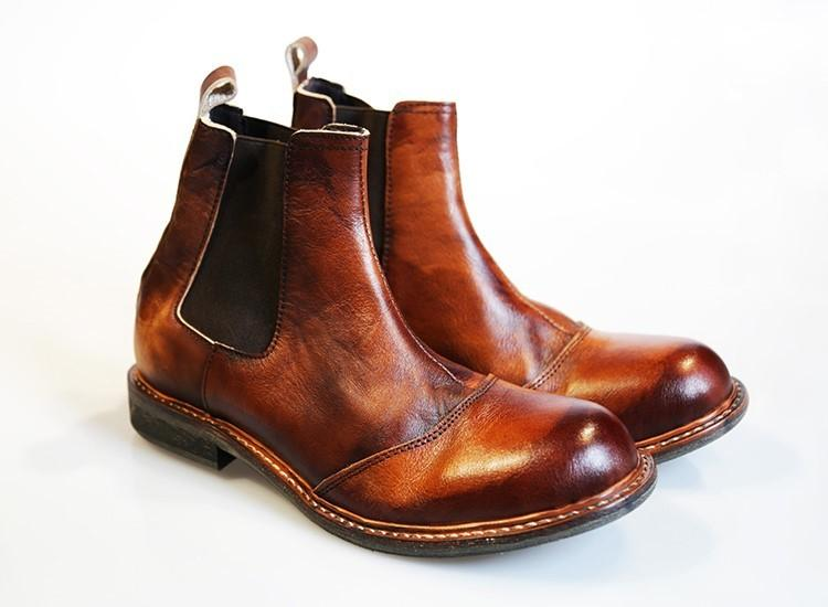 2019 Mens Real Leather Chelsea Ankle Boots High Top Platform Casual