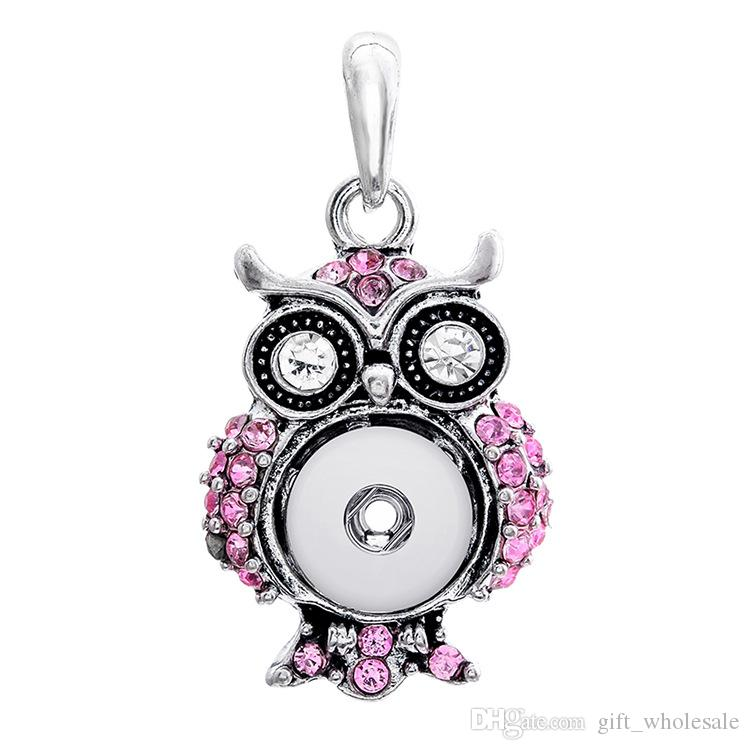 wholesale 2020 newest rhinestones SNAP chunks necklace owl pendent buttons owl round necklaces pendant charms