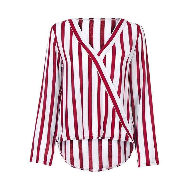 Camicetta a righe da donna bianca e rossa 2018 Camicie di chiffon a maniche lunghe con scollo a V autunno e inverno 2018 taglie forti blusas mujer