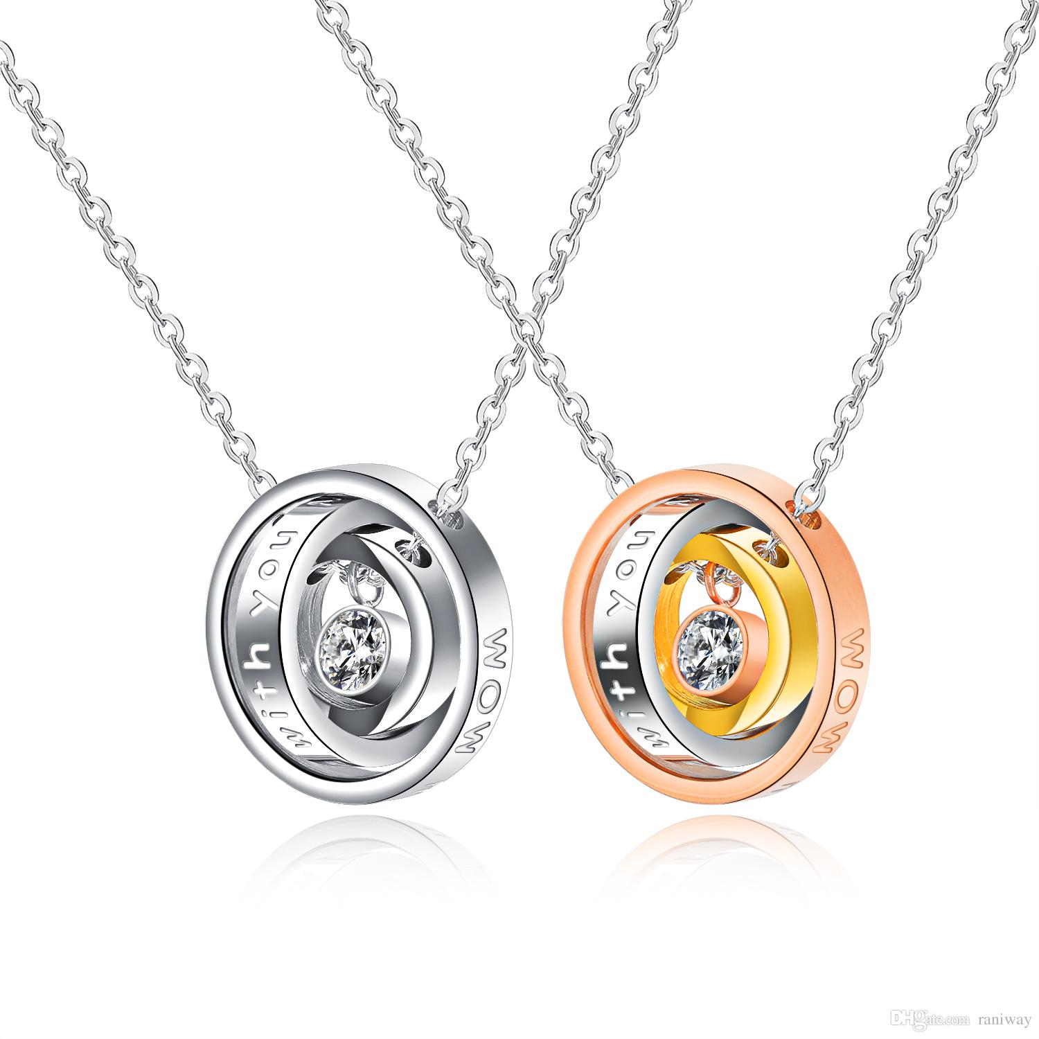 b0b18688e3 Romantic Mens Women His and Her Necklace Muilty Ring Message Engraved Stainless  Steel Matching Couple Necklace Pendant Set Valentine's Gifts