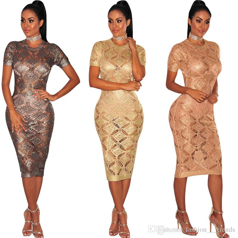 Gold Metallic Knitted Shredded Sweater Dress Crochet Hollow Out Sexy Club  Party Dress Evening Special Occasion Sheath Fitted Vestidos Dress Womens  Dresses ... 96bfd7d6256e