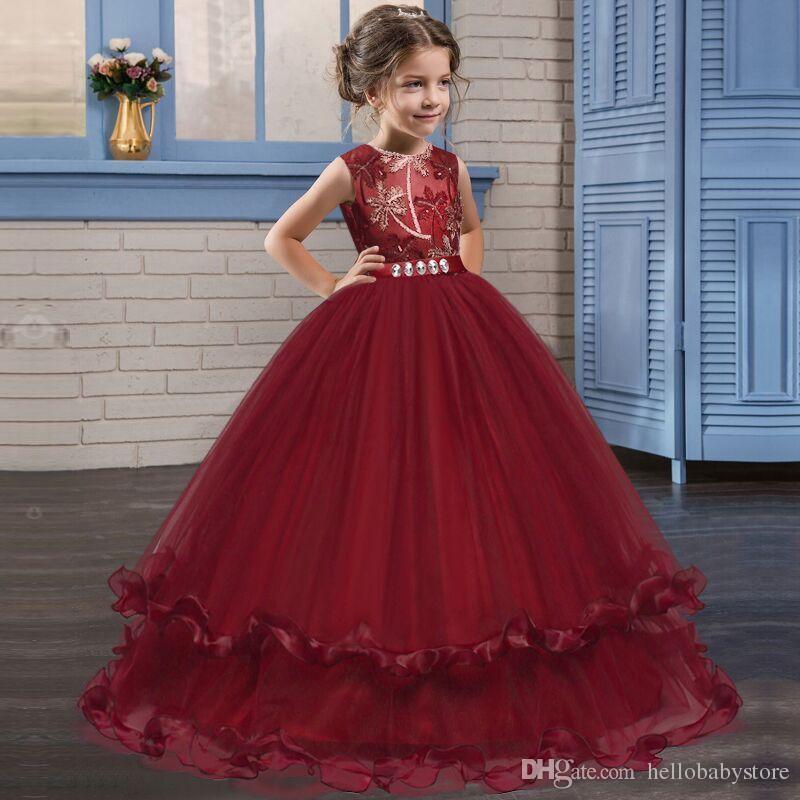 4d06fabcf 2019 Children Lace Dress Teenagers Kids Girls Wedding Girl Dress ...