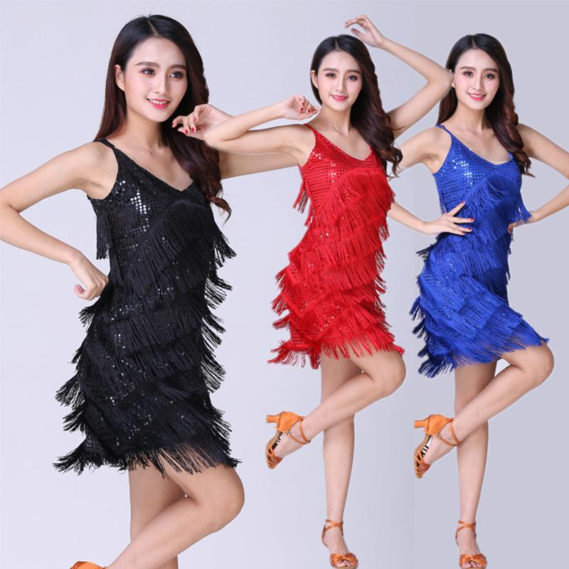 Stage performance suits modern dance performance sequins sling tassel skirt harness Latin dance dress 7 colors