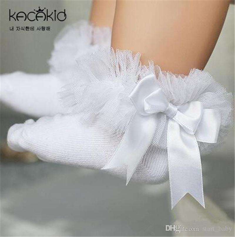 0-6T Kids Girls Socks Baby Tutu Yarn Lace Bow Socks Infants Children Sokken Princess Dancing Meias Kids Clothes Girls Accessory B11