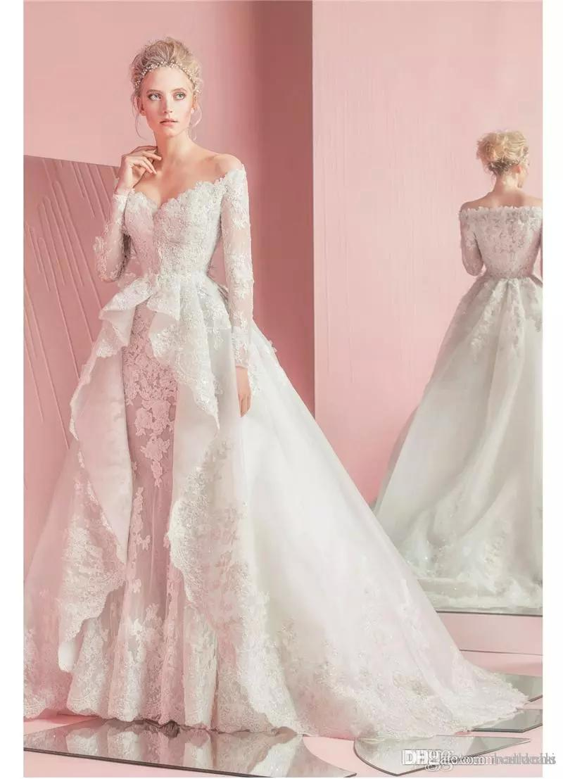 2017 Gorgeous Zuhair Murad Full Lace Overskirts Wedding Dresses Long Sleeves Sweetheart Neckline Applique Bridal Gowns with Detachable Train