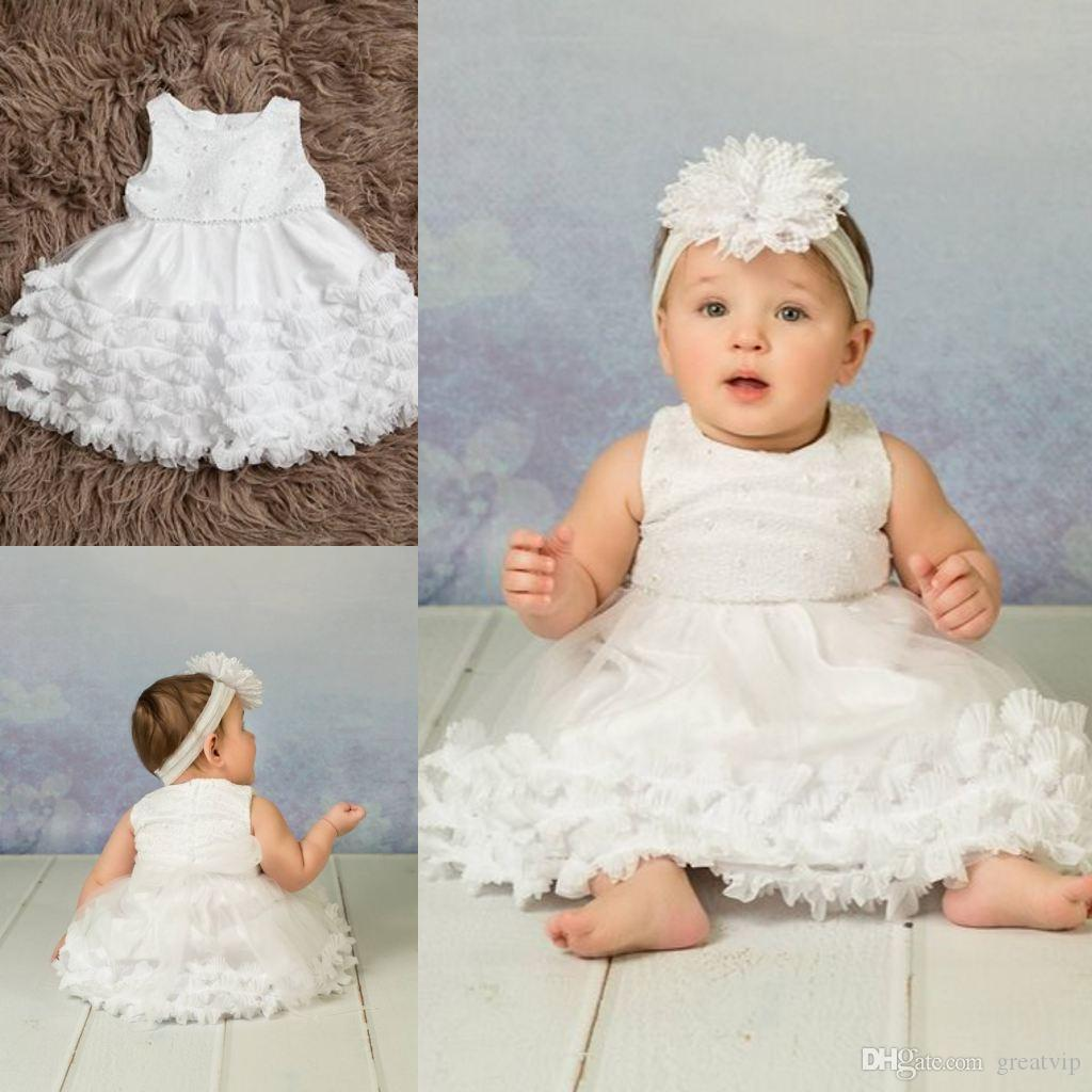 Lovely First Communion Dresses Lace Beads Ruffles Baby Christening Gowns With Bonnet Baptism Outfits Robes De Fête