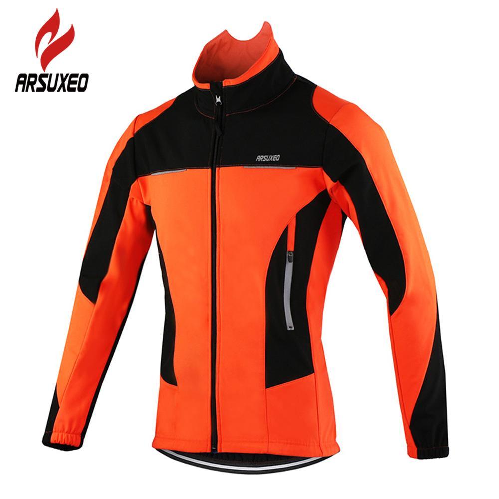 ARSUXEO Fleece Thermal Cycling Jacket Autumn Winter Warm Up Bicycle  Clothing Windproof Windbreaker Coat MTB Bike Jerseys Hi Viz Cycling Jacket  Cycling Wind ... b810f5437