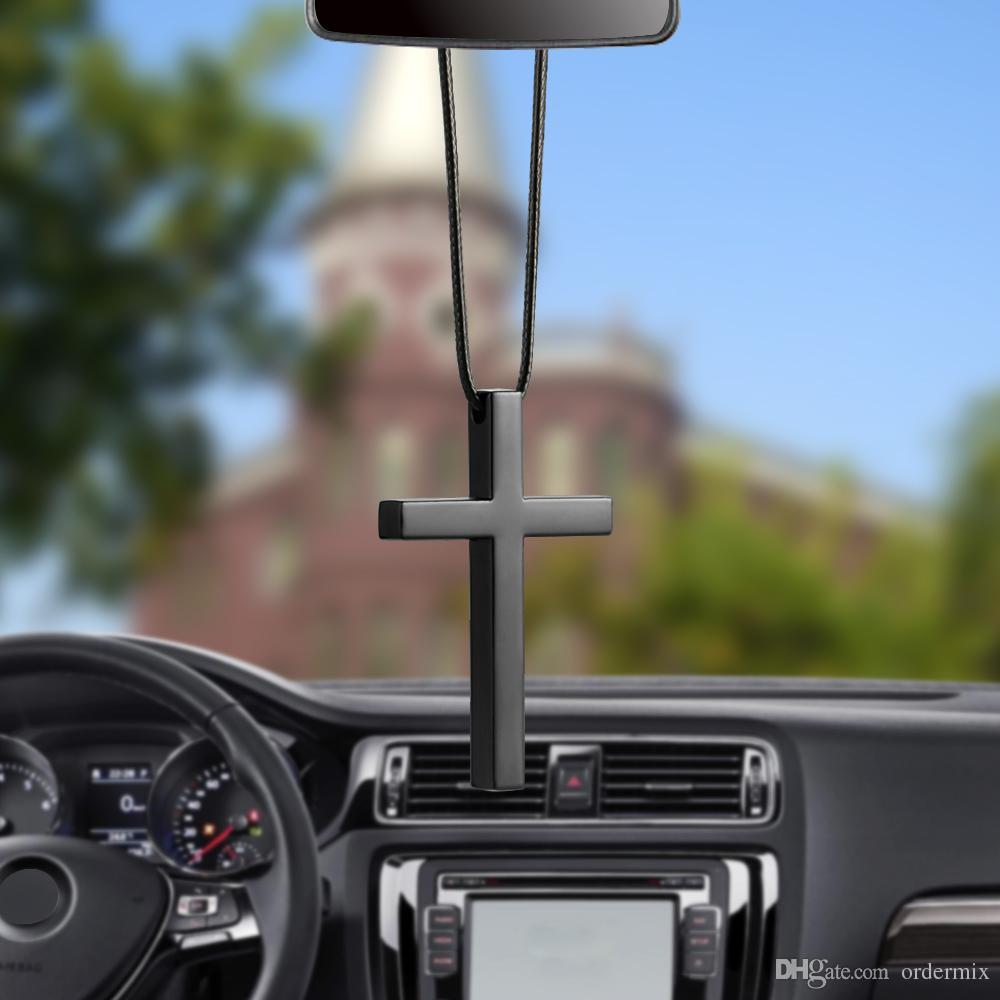 Dangle Charm Araba Şekillendirme Otomobiller Asma Araç kolye İç Metal Çapraz İsa Hristiyanlık Dikiz Aynası Süsleme