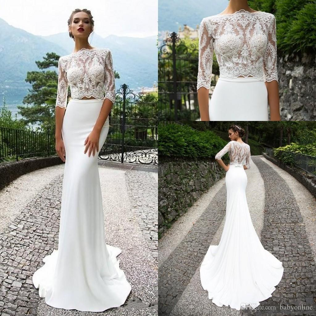 a8a3545cd7c 2018 Casual Two Pieces Lace Wedding Dresses With Half Sleeves Mermaid  Bateau Neck Trumpet Bridal Gowns Court Train Wedding Dress Designers Wedding  Dresses ...