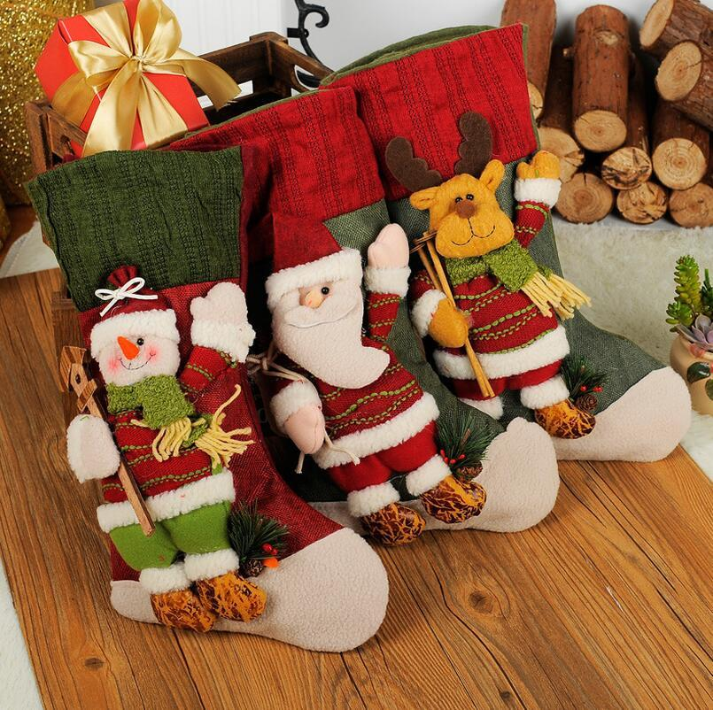 Vintage Christmas Stockings.Vintage Christmas Stockings Filler Artificial Christmas Tree Ornaments Christmas Decorations For Home Festive Party Supplies New