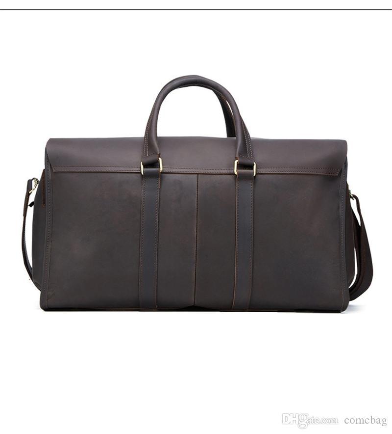 fda778cea7 Retro Genuine Leather Travel Weekender Overnight Duffel Bag Gym Sports  Luggage Tote Shoulder Bags For Men   Women Satchel Bags Gym Bags For Women  From ...