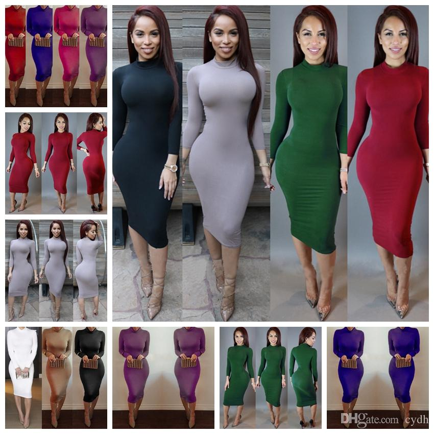 e3f6f6a17a069 2019 European spring summer hot sale street casual long-sleeved  tight-fitting round necked solid color dress.Support mixed batch