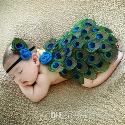 Bebé recién nacido Peacock Photo Props Infant Girls Boys Crochet Knit Costume HeadBand And Drape Photography Prop Outfits Regalo del bebé recién nacido