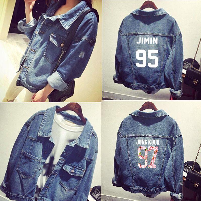2018 New Kpop Style Bts Denim Jacket For Women Jungkook Suga Jimin