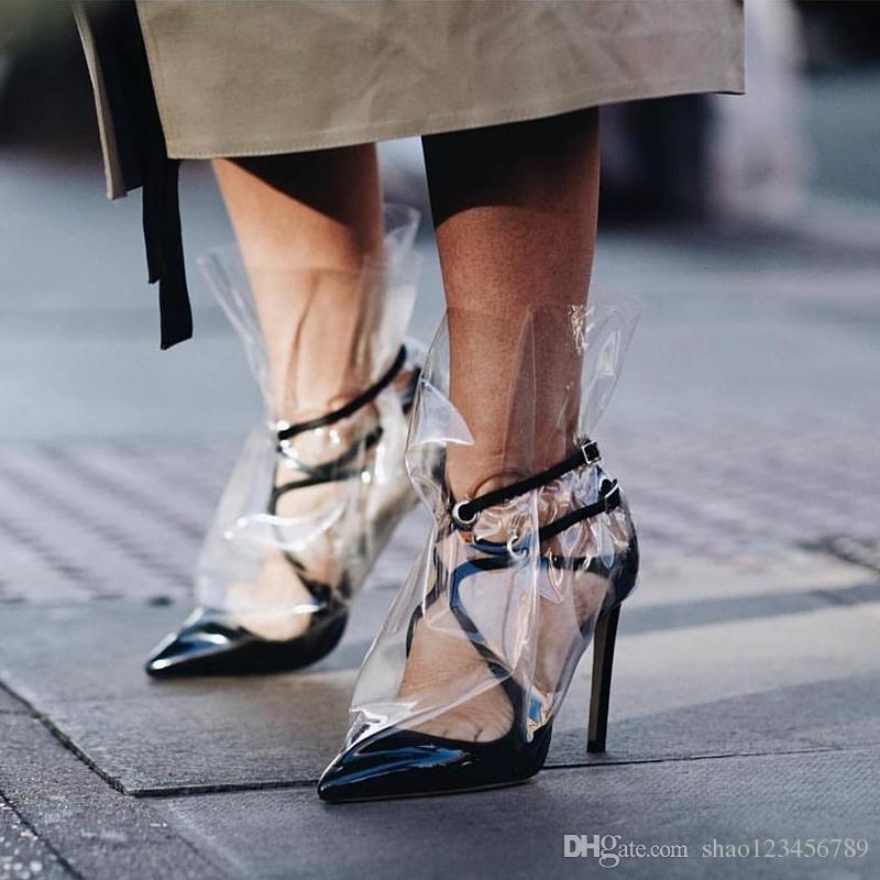 65b5d951a0b3 2018 Fashion Brand High Heel Shoes Women Vintage Strappy Pointy Pumps PVC  Clear Rain Boots Suede Boots Men Boots From Shao123456789