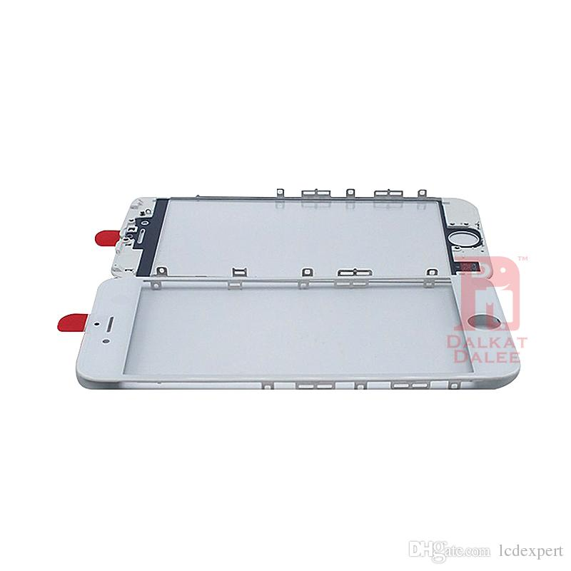 Front Touch Screen Panel Outer Glass Lens + Cold Press Middle Frame Bezel + OCA Installed for iPhone 5s 5c 6 6s 7 8 plus