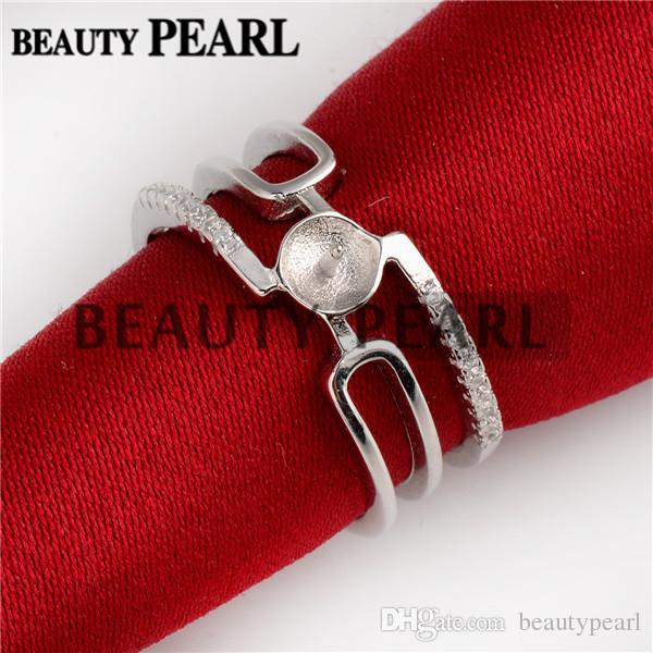 Cuff Design Pearl Ring Mount Zircon 925 Sterling Silver DIY Findings Open Cuff Ring
