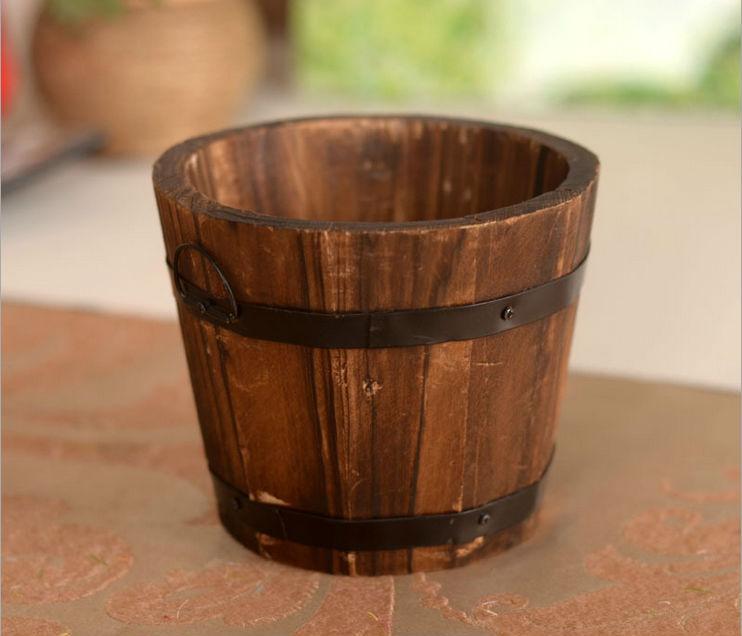 High Quality Wooden Barrel Vase Flower Vase For Home Desk Decoration