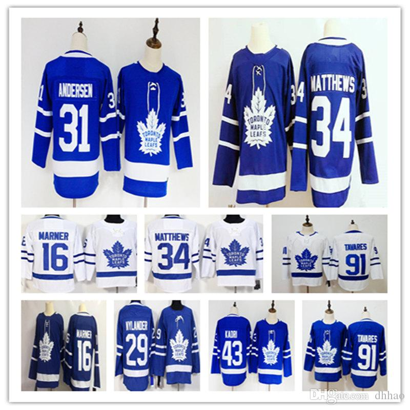 6ff1fd85f Hot Sell 34 Auston Matthews Jersey 91 John Tavares Hockey Mitchell Marner  William Nylander Frederik Andersen Blue White Stadium S UK 2019 From Dhhao