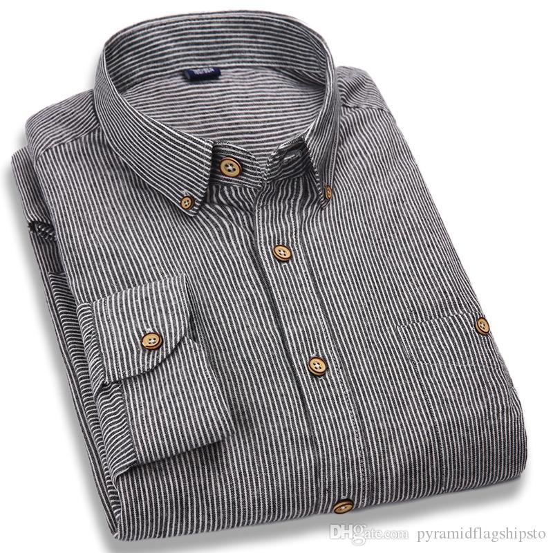 Хлопок Бренд Горячая продажа Мода Мужская рубашка с длинными рукавами Топы Простые полоски Рубашки мужские рубашки Тонкая мужская рубашка