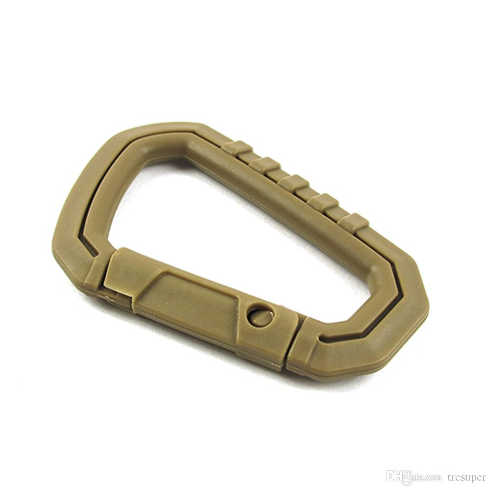 D Shape 200LB Climbing Carabiners Clasps EDC Keychain Camping anti-lost Waist Belt Clip Paracord Tactical Survival Gear