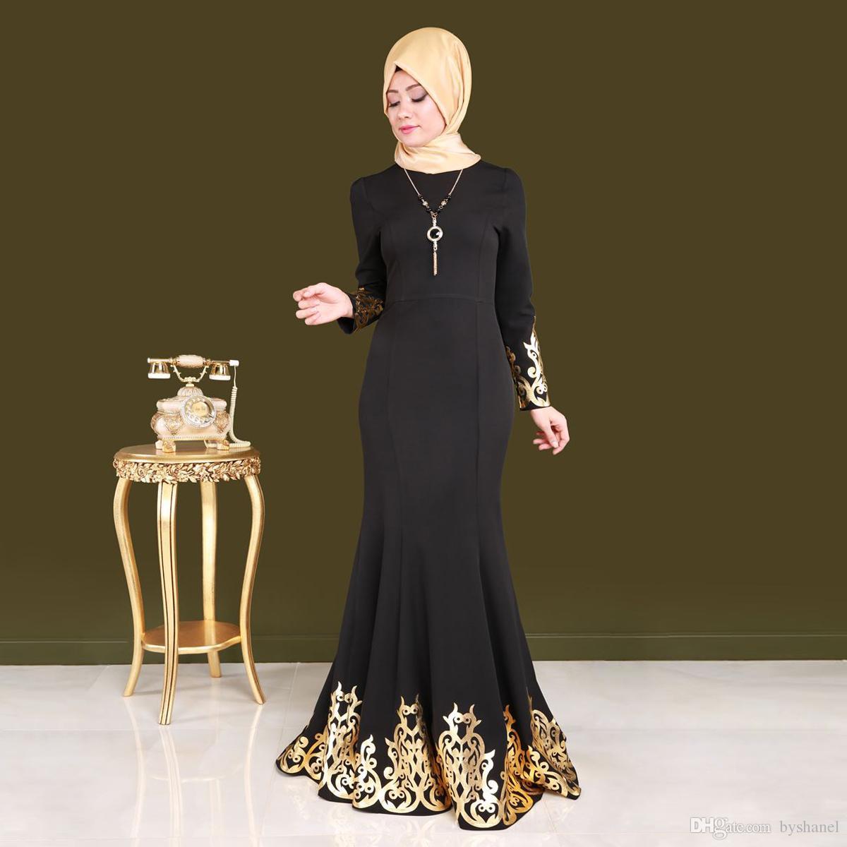 Satın Al Dubai Arapça Kaftan Siyah Uzun Kollu Abiye Uzun Orta Doğu Vestidos  De Festa O Boyun Müslüman Balo Elbise 2018 5c3f23f1ffd8