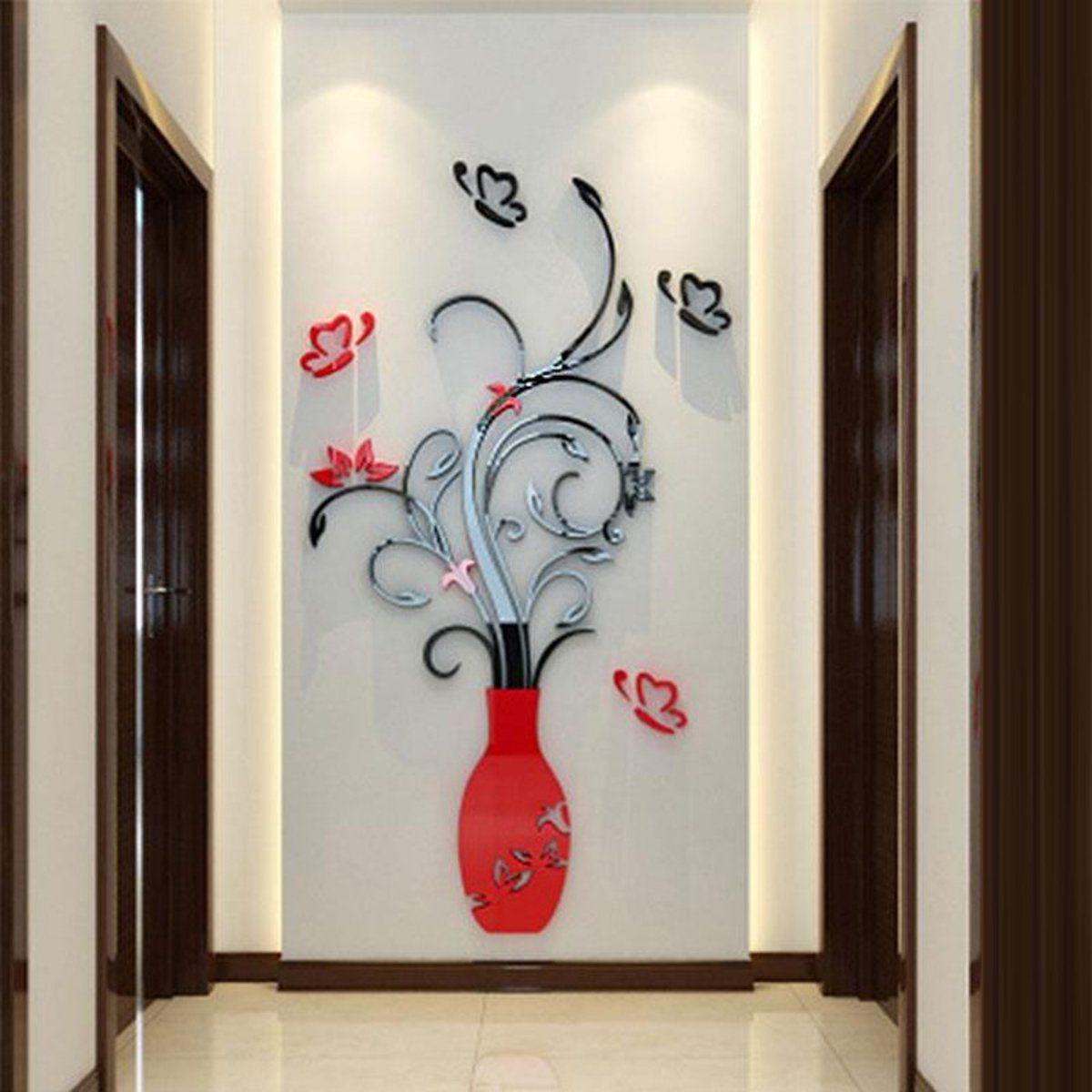 الكريستال الاكريليك 3d زهرة زهرية ملصقات الحائط مرآة الزجاج خلفيات الفن جدارية الشارات الأرجواني الأحمر diy الحرف المنزل غرفة الديكور