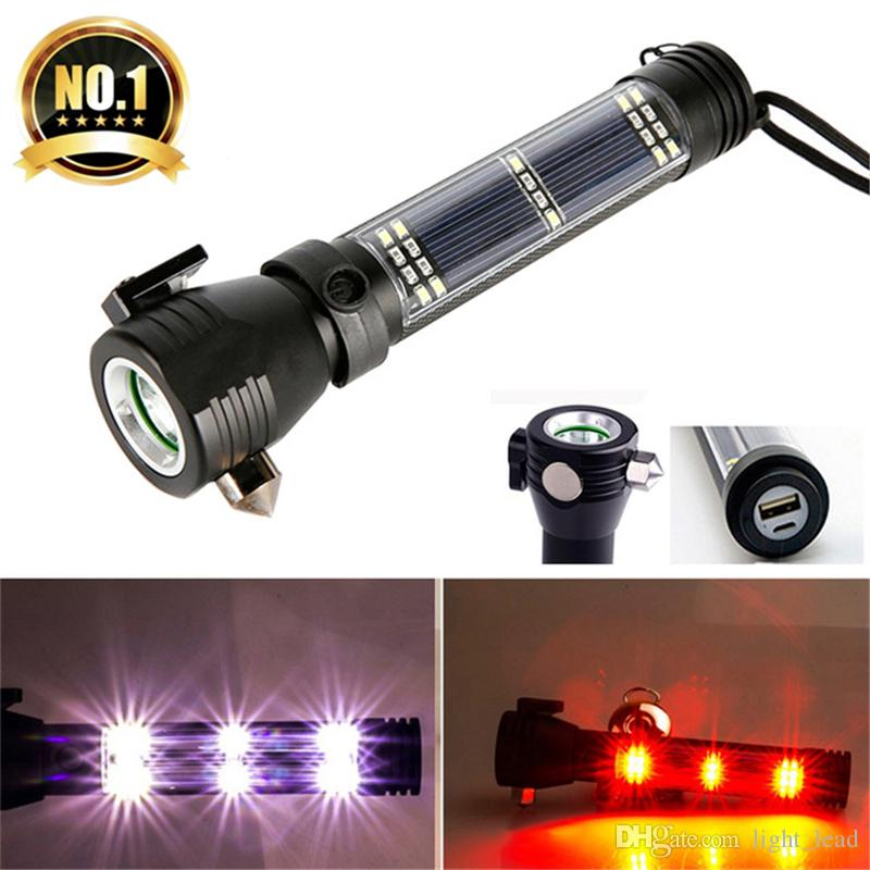 Outdoor Camping Emergency Light Solar Powered Led Flashlight Self Defense Glare Flashlight Hammer Torch Light With Power Bank At Any Cost Security & Protection
