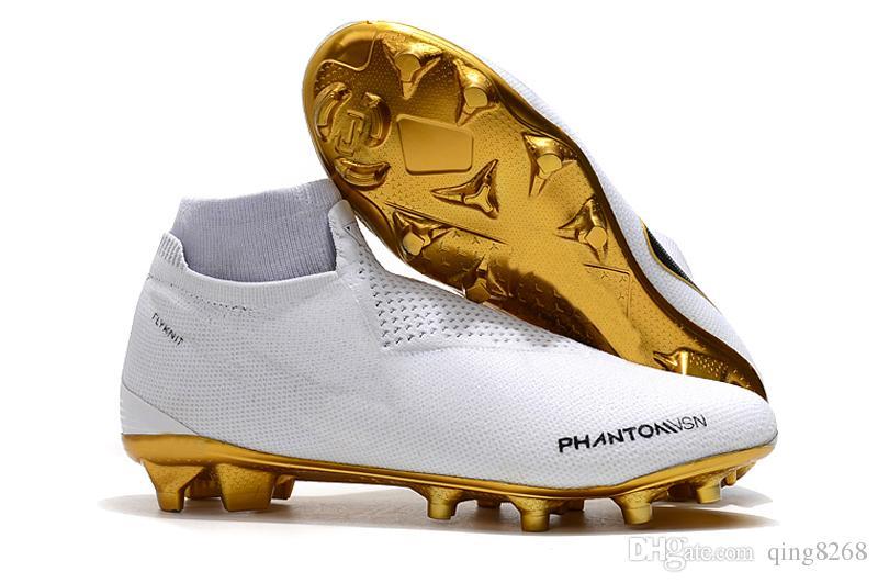 604c80bfad040 Compre Phantom Vision Elite DF FG Tacos De Fútbol Zapatos De Fútbol De  Cuero Calcetines Para Hombre Sin Cordones Phantom VSN Tobillo Alto Botas De  Fútbol De ...