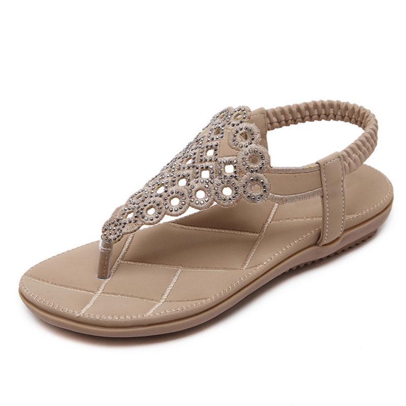 fc38d65d3dea New Women Sandals Summer Casual Bohemia Hollow Flat Sandals Shoes Woman  Rivet Flip Flop Bling Sweet Beach Shoes Wedding Sandals Walking Sandals  From Aiyin