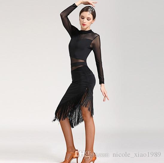 411c69edf463 2019 Red Black Leopard Adult/Girls Latin Dance Dress Salsa Tango Cha Cha  Ballroom Competition Practice Tassel Dance Dress 005 From Nicole_xiao1989,  ...