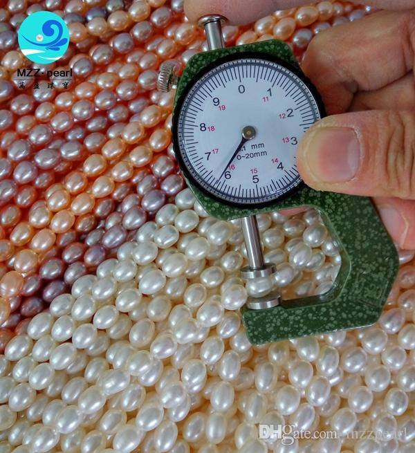 White pin purple Rice Pearl 6-7mm Natural Freshwater Pearl 39cm one Strands Loose BeadNew Arrive Christmas Gift Jewelry ! Rice cultured Fre