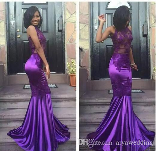 2019 Black Girls Sexy Lace Purple Halter Open Back Mermaid Prom Dresses Cheap Sleeveless Sexy Appliques Evening Arabic Party Gowns